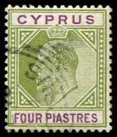 Lot 3968:1902-04 KEVII Wmk Crown/CA SG #54 4pi olive-green & purple, Cat £26.