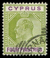 Lot 3392:1904-10 KEVII Wmk Mult Crown/CA SG #66 4pi olive-green & purple, Cat £19.