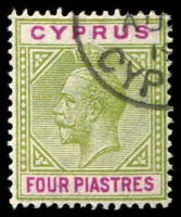 Lot 3969:1912-15 KGV Wmk Mult Crown/CA SG #79 4pi olive-green & purple