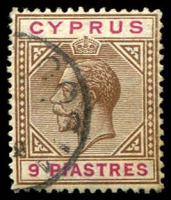 Lot 3393:1912-15 KGV Wmk Mult Crown/CA SG #81 9pi brown & carmine, Cat £27