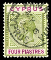 Lot 3395:1921-23 KGV Wmk Mult Script CA SG #95 4pi olive-green & purple, Cat £25