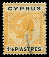 Lot 3970:1921-23 KGV Wmk Mult Script CA SG #91 1½pi yellow & black, Cat £10
