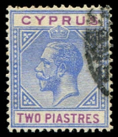 Lot 3394:1921-23 KGV Wmk Mult Script CA SG #92 2pi blue & purple, Cat £30