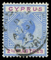 Lot 3971:1921-23 KGV Wmk Mult Script CA SG #94 2¾pi blue & purple.
