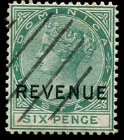 Lot 3680:1877-79 QV Wmk Crown/CC Optd 'REVENUE': SG #R2 6d green, diagaonal lines cancel.