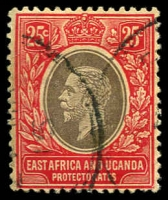 Lot 19204:1912-21 KGV Wmk Mult Crown/CA SG #50a 25c black & red/yellow with white back.
