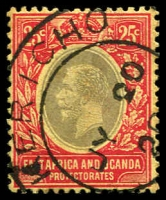Lot 20627:1912-21 KGV Wmk Mult Crown/CA SG #50b 25c black & red/lemon, Cat £11, cancelled with fine 'KERICHO/JY20/20/[?]