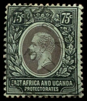 Lot 19206:1912-21 KGV Wmk Mult Crown/CA SG #52a 75c black/green with white back, Cat £16.