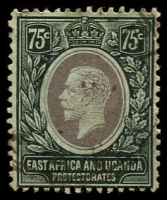 Lot 19207:1912-21 KGV Wmk Mult Crown/CA SG #52a 75c black/green with white back, Cat £16.