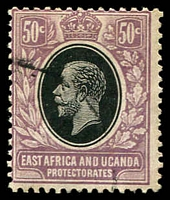 Lot 20628:1921 KGV Wmk Mult Crown CA SG #51 50c black & dull purple, indistinct cancel.