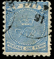 Lot 21122:1878-99 'CR' Altered to 'VR' Perf 10 SG #39b 1d Cambridge blue.