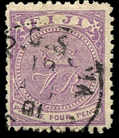 Lot 3443:1878-99 'CR' Altered to 'VR' Perf 11 SG #56 4d mauve, Cat £11.