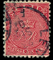 Lot 19409:1878-99 'CR' Altered to 'VR' Perf 11x11¾ SG #59a 6d bright rose.