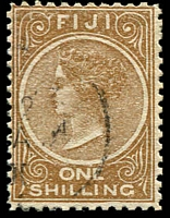 Lot 3718:1899 1/- Pale Brown Perf 11x11¾ SG #67 Cat £12.