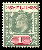 Lot 3445:1904-09 KEVII Wmk Multi Crown/CA SG #117 1/- green & carmine, Cat £30.