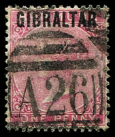 Lot 3541:1886 'GIBRALTAR' On GB SG #2 1d rose-red.
