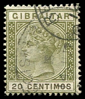 Lot 3820:1889-96 Spanish Currency Wmk Crown/CA SG #24 20c olive-green & brown, Cat £24