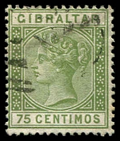Lot 3821:1889-96 Spanish Currency Wmk Crown/CA SG #29 75c olive-green, Cat £32