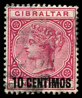 Lot 3818:1889 Spanish Surcharges SG #16 10c on 1d rose, Cat £19.