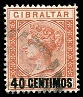 Lot 3819:1889 Spanish Surcharges SG #19 40c on 4d orange-brown, Cat £75.
