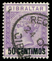 Lot 3542:1889 Spanish Surcharges SG #20 50c on 6d bright lilac, Cat £80.