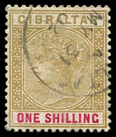 Lot 3822:1898 Sterling Currency SG #45 1/- bistre & carmine.