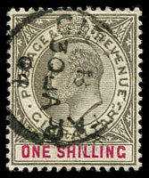 Lot 3823:1903 KEVII Wmk Crown/CA SG #51 1/- black & carmine, Cat £38