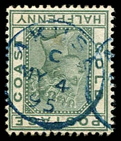 Lot 3841:Akuse: blue 'AKUSE/C/MY4/95' on ½d green.  ED 14/4/1887.