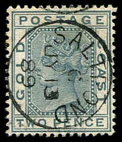 Lot 3836:1884-91 Wmk Crown/CA SG #13 2d grey, 1889 use at Saltpond