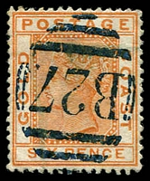 Lot 3652:1884-91 Wmk Crown/CA SG #17 6d orange, fine 'B27' (A1) of Quittah.