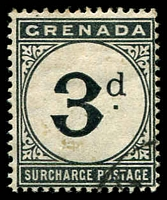 Lot 23527 [1 of 3]:1892 Wmk Crown/CA SG #D1-2,10 1d & 2d plus 1906 3d blue-black.