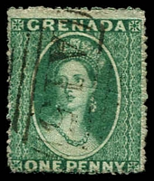 Lot 20527:1861-62 No Wmk SG #2 1d green, Cat £50, cancelled with 'A15'.