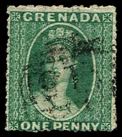 Lot 20531:1863-71 Chalon Wmk Small Star Rough Perf 14-16 SG #4a 1d green Wmk sideways, Cat £30.