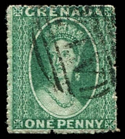 Lot 3609:1863-71 Chalon Wmk Small Star Rough Perf 14-16 SG #4 1d green, Cat £17.
