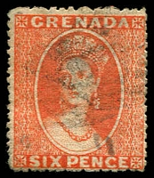 Lot 3901:1873-74 Chalon Wmk Large Star (Sideways) Intermediate Perf 15 SG #12 6d orange-vermilion, ink writing on back, Cat £26.