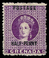 Lot 3612:1881 Surcharge on Revenue Stamps SG #21 ½d deep mauve, Cat £17.