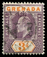 Lot 3615:1902 KEVII Wmk Crown/CA SG #61 3d dull purple & orange