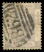 Lot 3747:1863-71 Wmk Crown/CC Perf 14 SG #10a 6c mauve, Cat £20