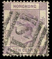 Lot 20208:1882-96 Wmk Crown/CA SG #36 10c dull mauve, Cat £22, cancelled with 'S1' of Shanghai