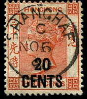 Lot 20214:1885 Surcharges SG #40 20c on 30c orange-red, cancelled with framed 'SHANGHAE/C/NO6/90'.