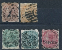 Lot 3787:1867-73 'Service.': SG #O23-30 1a brown, 2a orange, 4a pale green, 4a green & 8a rose.