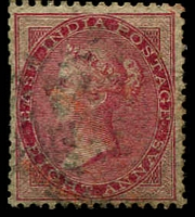Lot 21107:1856-64 No Wmk SG #48 8a carmine Die I, couple of trimmed perfs, Cat £38.