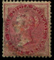 Lot 3988:1856-64 Yellowish to White Paper SG #48 8a carmine Die I, couple of trimmed perfs, Cat £38.