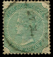 Lot 3751:1866-78 New Designs Wmk Elephant SG #69 4a green Die I,