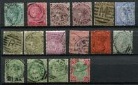 Lot 3752:1882-97 QV SG #84-106 new definitives set, incl both 1a, 4a & 8a, excl 3a, plus 2½s on 4½a, 2a6p both & 1r green & aniline carmine, Cat £35. (16)