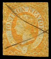 Lot 3811:1859 Imperf SG #1 (½d) orange, small stamp, pen cancel, Cat £750.