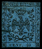 Lot 4299:1852-57 Arms No Stop After Value SG #6a 40c black/deep blue, 4 touching margins, Cat £150.