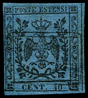 Lot 24630:1852-57 Arms No Stop After Value SG #6a 40c black/deep blue, 4 margins, Cat £150.