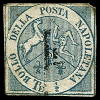 Lot 24634:1860 Arms ½t blue forgery of of SG #8, Cat £13,000 as genuine.