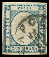 Lot 3929:1861 King Victor Emanuel II SG #10 2g blue, four margins, Cat £17